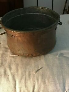 Primitive Handmade Antique Lg Copper Pot Cauldron 15 X 9 1 2
