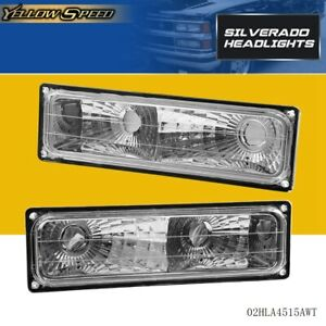 For 1988 1998 Chevy Silverado Pickup Bumper Parking Lights Pair Turn Signal Lamp