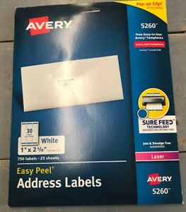 Avery Address Labels With Sure Feed For Laser Printers 1 X 2 5 8 750 pk New
