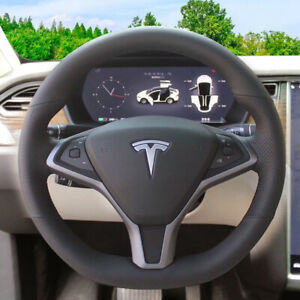 Black Microfiber Leather Steering Wheel Stitch On Wrap Cover For Tesla Model S x