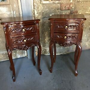 Pair Mahogany French Country Nightstands W Two Drawers Gold Hardware