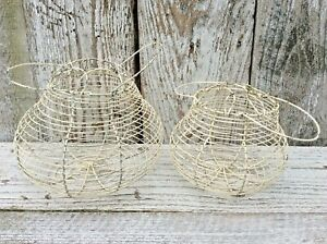 Vintage 2 White Round Wire Egg Baskets Farmhouse Shabby Chic Rustic Primitive