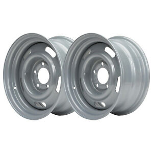 Gm Style 15x7 Inch Rally Wheel 5 On 4 75 Inch Silver 2 Pk