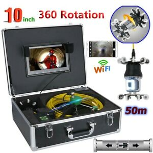 50m Wifi 10 lcd Sewer Pipe Pipeline Drain Inspection System 360 Rotation Camera