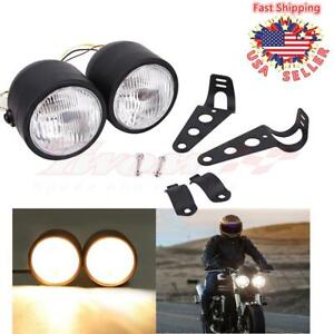 Black Twin Headlight Motorcycle Double Dual Lamp Street Fighter Universal 4 5 Us