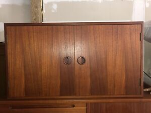 Hansen And Guldborg Mcm Danish Teak Wood Liquor Lighted Wall Cabinet Cado Style