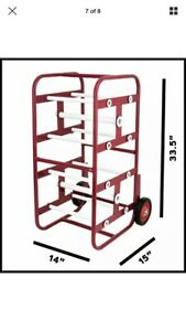 Adirpro Red Steel Wire Holder Transportable Multiple Axle Cable Caddy W Wheels