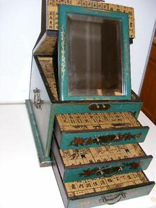 Jewelry Box Organizer Asian Wood Vanity 3dr Cabinet Shaving Mirror Makeup Chest