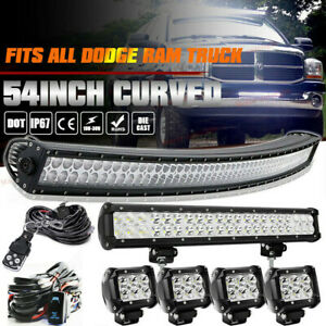 Fit Dodge Ram 1500 2500 3500 52 Led Curved Light Bar 22in 4x 18w Pods Combo Kit