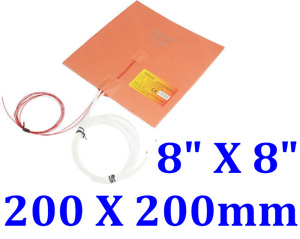8 X 8 200 X 200mm W 3m Thermister Jsrgo 3d Printer Heatbed Silicone Heater Pad