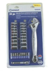 Kobalt 30 Piece Adjustable Wrench Ratchet Combo Set 1 4 Drive 0568268 Nip New