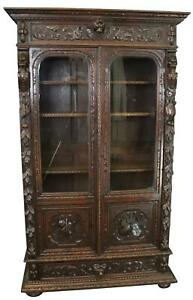 Bookcase Antique French Hunting Style 1880 Carved Oak Glass 2 Door Display