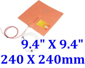 9 4 X 9 4 240 X 240mm W 3m Psa Thermistor 3d Printer Heatbed Silicone Heater