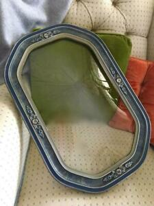 Antique Vtg Blue Wood Gesso Barbola Flowers Convex Glass Picture Frame