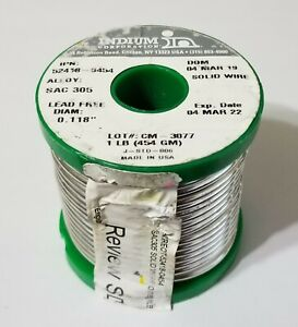 1lb Indium Silver 3 Sac305 Solder 118 96 5 sn 3 ag 5 cu Solid 52418 0454 New