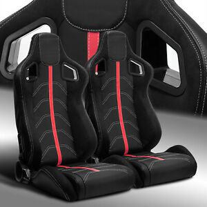 2 X Reclinable Pvc Leather red Strip Left right Racing Bucket Seats Slider