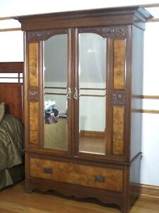 Antique Mirrored Armoire Wardrobe Cabinet