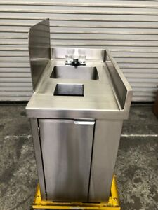New 18 Stainless Steel Hand Wash Sink Trash Filler Table Station Nsf 2608