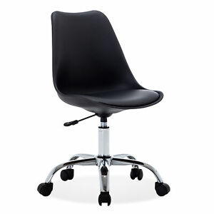 Swivel Armless Mid back Task Office Conference Chair Faux Leather Adjustable