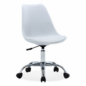 Height Adjustable Upholstery Midback Office Desk Chair Faux Leather Swivel white