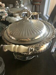 Vintage Silver Plate Chafing Dish Buffet Stand With Mother Of Pearl Handles