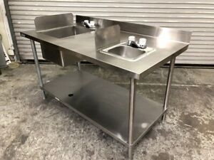 60 X 30 Food Prep Double Sink Work Top Table Station New Faucets Gsw 2681