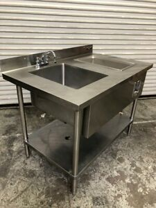 48x30 Stainless Steel Work Prep Table Sink Wells Hot Steam Station Nsf 2705