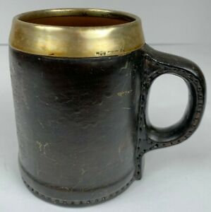 Antique Gorham Silver Leather Copper Mug 4 25 Inches