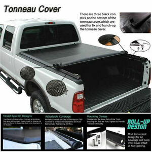 Black Vinyl Tonneau Cover For Toyota Tacoma Crew Cab 06 19 Pickup Truck Bed 5ft