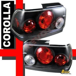 Black Tail Lights Lamps 1 Pair For 1993 1997 Toyota Corolla