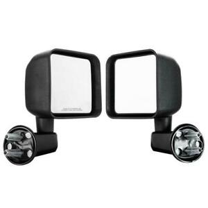 Manual Mirrors Black Left Right Side Pair For 2007 2017 Jeep Wrangler
