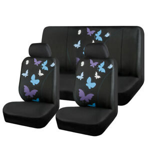 Universal Car Seat Cover Blue Butterfly Fabric Fit For Honda Toyota Nissan Ford