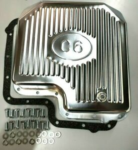 Ford C6 Deep Sump Chrome Steel Transmission Pan W Drain Plug Bolts