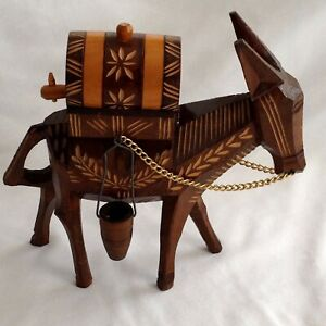 Wooden Art Carving Donkey With Barrel And Baskets