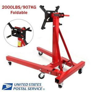 2000lb Engine Stand Foldable Motor Hoist Engine Mover Auto Repair Support Us