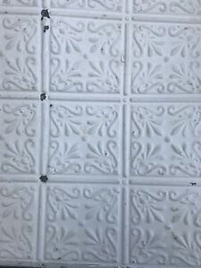 Antique Metal Ceiling Tiles Industrial Architectural Salvaged Vintage 24x24