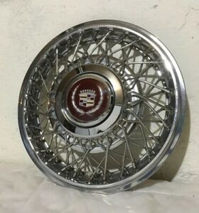 1985 85 Cadillac Deville Fleetwood Fwd 14 Wire Spoked Wheel Cover Hub Cap Nice