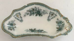 Antique Vintage Crescent Shaped Candy Dish Green Gold White Wm Grandly England