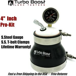 4 Turbo Boost Leak Tester 30psi Stainless Gauge Tbolt Clamps Fast