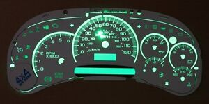 Chevy Gmc Truck Cluster White Face Overlay Steppers Green Led Kit 03 04 05