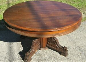 Antique 48 Round Walnut Pedestal Dining Table