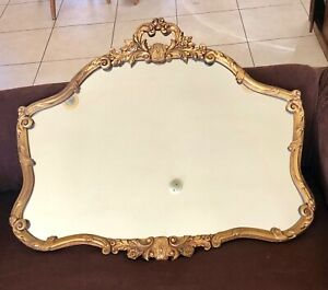Gorgeous Antique Estate Gilt Gold Carved Leaf Scroll Floral Mirror 38x32 Tall