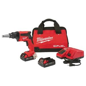 Milwaukee Drywall Screw Gun Kit 18 Volt Cordless Compact Two Batteries Charger