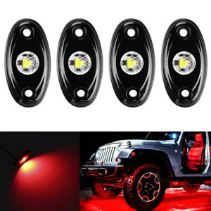 4x 9w Red Cree Led Rock Light Pods Kit Off Road Truck For Jeep Ford Chevy Ram