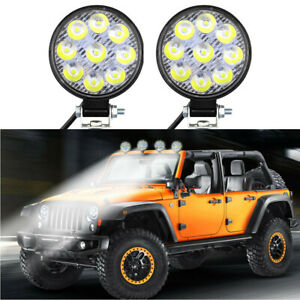 2pcs 27w Round Spot Work Light Bar Fog Driving Lamp Truck Tractor Suv 9 Led