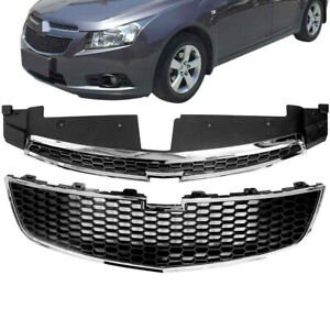 Front Protect Bumper Upper Lower Grilles Fit For Chevy Cruze 11 14 Abs Chrome