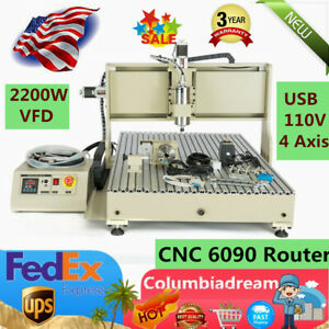 Usa 4 Axis Engraver 6090gz Cnc Router Milling Dilling 2200w Vfd Spindle Carver