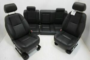 2012 2013 Chevyrolet Silverado Crew Cab Seat Set Front And Rear Black Leather