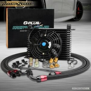 Universal 15 Row An10 Engine Racing Oil Cooler Thermostat Adaptor Kit W Fan