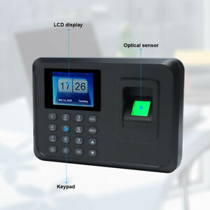 Check In Time Clock Fingerprint Biometric Password Attendance Machine New